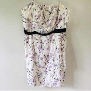 David's Bridal Strapless White Floral Dress